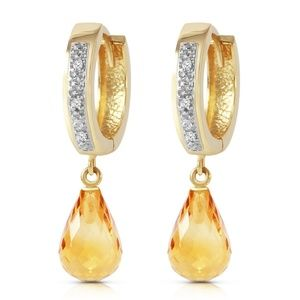 SOLID GOLD HOOP EARRING WITH DIAMONDS & CITRINES